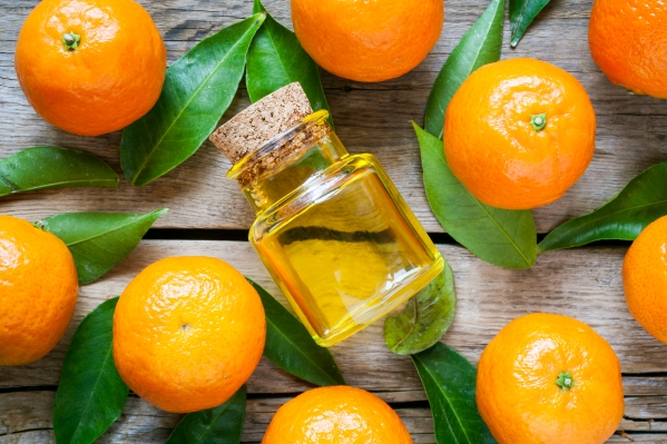 Ripe tangerines with leaves and bottle of essential citrus oil o