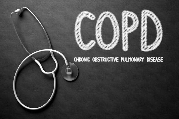 COPD Concept on Chalkboard. 3D Illustration.